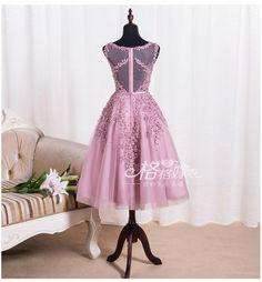 Shevny Tea Length Short Burgundy Lace Beading Bridesmaid Dress 2016
