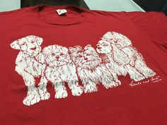 Vintage 80's Dogs t shirt Dogs heads and tails Linda Lori shirt Red Size XL Single stitch Made in usa by AlivevintageShop on Etsy