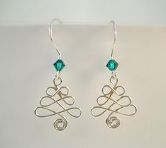 Silver Celtic Christmas tree earrings with emerald crystal bead