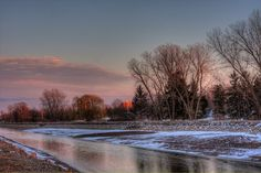 Winter view of the Erie Canal near Redman road. The water is low and its cold outside
