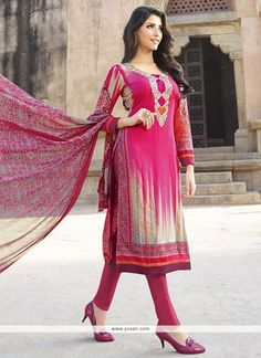 Phenomenal Embroidered Work Pink Cotton   Churidar Designer Suit Model: YOS6768