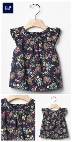 Floral flutter top My Little Girl, Little Princess, Cute Baby Girl, Cute Babies, Spring Girl, Kids Outfits, Baby Outfits, Cute Baby Clothes, Kid Styles