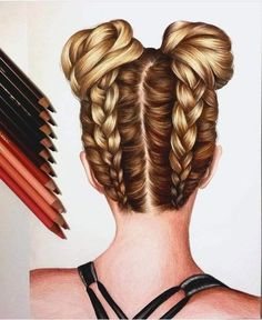 Drawing Coiffure Dessin Hairstyle This image has get 205 r . - Drawing Coiffure Dessin Hairstyle This im . Cool Art Drawings, Pencil Art Drawings, Amazing Drawings, Realistic Drawings, Colorful Drawings, Drawing Drawing, Drawing Faces, Drawing Tips, Hair Styles Drawing