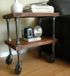308 Vintage Industrial End Table If you like this then check out my shop for one of a kind handmade art and decor items https://www.etsy.com/shop/SalehDesigns?ref=si_shop industrial chic vintage reclaimed up cycled repurposed game of thrones gears steampunk welded steel sculptures eclectic decor