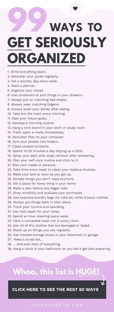 Get a list of 99 tips that will help you organize your life goals work and surroundings Hint theyre easy and nonoverwhelming Personal development Self Improvement Orga.