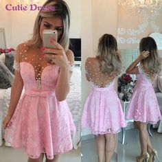 Simple Prom Dresses, pink homecoming dress lace homecoming dress cute homecoming dress new fashion homecoming dress short prom dress charming homecoming gowns new style sweet 16 dress short evening gowns Short Sleeve Prom Dresses, Cute Homecoming Dresses, A Line Prom Dresses, Short Sleeves, Graduation Dresses, Sleeve Dresses, Cap Sleeves, Formal Dresses, Homecoming Queen