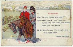 """Leap Year proposal postcard: """"Is your horse a jumper?"""""""