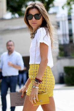 street fashion, white skirt summer, short outfits, street styles, summer outfits, mini skirts, street style fashion, mustard yellow, white tee fashion