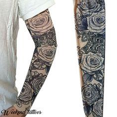 58c740cd6 Black Roses Flowers Slip on Elastic Stocking Fake Arm Temporary Tattoo  Sleeves #WeekendTattoos Temporary Tattoo