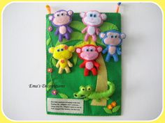 Quiet book page idea - alligator snapping monkeys out of the tree like the song.