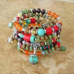 Bohemian Bracelet Colorful Bracelet Santa Fe Style by BohoStyleMe