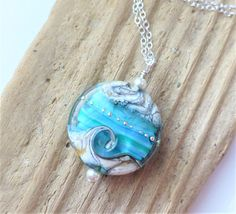 Beach Necklace Ocean Wave Jewelry Blue Green Wave Necklace