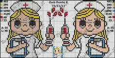 Enfermeira Cross Stitch Boards, Cross Stitch Bookmarks, Mini Cross Stitch, Cross Stitching, Cross Stitch Embroidery, Cross Stitch Patterns, Hama Beads Patterns, Beading Patterns, Stitches Medical