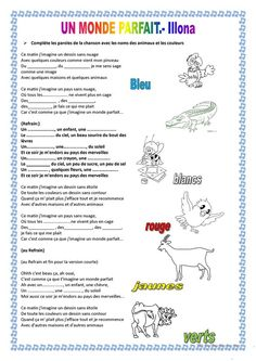 UN MONDE PARFAIT Ap French, Learn French, French Worksheets, French Songs, French Teacher, French Lessons, French Language, Reading Comprehension, Student