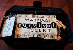 Marriage Survival Tool Kit - great wedding shower gift for him. Cute ideas, great gifts too. Every new homeowner needs these tools.