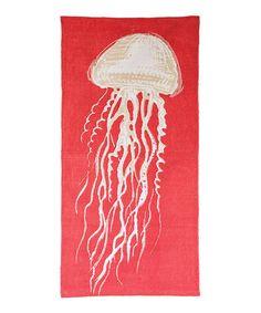 Look what I found on #zulily! Coral & White Jellyfish Rug #zulilyfinds