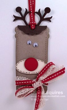 Cute little red nosed reindeer tag made from the Two Tags Die. - http://stampandembellish.com/2012/12/such-a-cute-rudolph-tag/