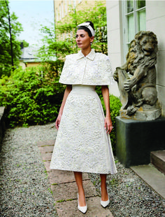The perfect two piece dress and jacket combo... White beaded embroidery.   www.TheBoldScoop.com #theboldscoop