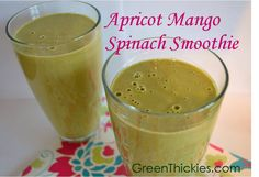 Eating with the seasons.  This Apricot Mango Spinach Smoothie is perfect for June (Simple, Seasonal, Save: Green Thickie Thursdays)