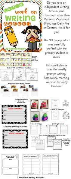 Let's Work on Writing - August Back to school version http://www.teacherspayteachers.com/Product/Lets-Work-on-Writing-August-1291279