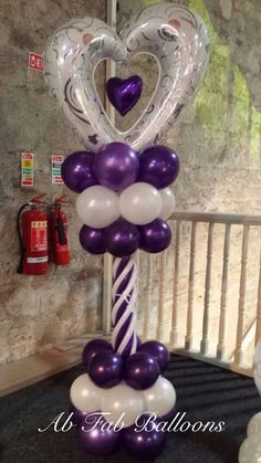Balloon Column in white and purple. Love the heart shaped foil balloon as topper, with the small heart inside. Balloon Arrangements, Balloon Centerpieces, Balloon Decorations Party, Birthday Decorations, Valentines Balloons, Birthday Balloons, Baloon Art, Deco Ballon, Helium Balloons