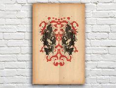 Deadpool Rorschach Poster Marvel  11 x 17 by SlapdashPrints, $12.00