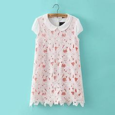 Women Lace Patchwork Mini Chiffon Dress With Short Puff Sleeve 2015 New Summer Style Girl's Sweet Outfit Roupas Femininas Hot