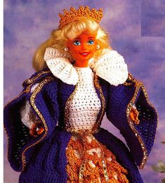 Crochet Barbie Patterns, Doll Patterns, Queen Outfit, Gown Skirt, Royal Court, Dress Robes, Dollhouse Accessories, Vintage Crochet, Cotton Thread
