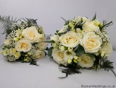 Gorgeous white rose freesia and gypsophila Bride and Bridesmaid handtied bouquets. Flowers by Wedding and Bridal Florist, Booker Flowers and Gifts, Liverpool. Rose Wedding, Wedding Bride, Wedding Flowers, Wedding Venues, Bride Bouquets, Bridesmaid Bouquets, Vera Wang Wedding, Gypsophila, Brides And Bridesmaids