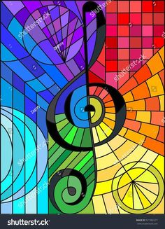 Abstract image of a treble clef in stained glass style rainbow background Sea Glass Art, Stained Glass Art, Mosaic Glass, Glass Vase, Rainbow Background, Abstract Images, Stained Glass Patterns, Collages, Art Projects