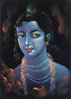 Face of Lord Krishna - Paintings on Velvet (Painting on Velvet Cloth - Unframed)