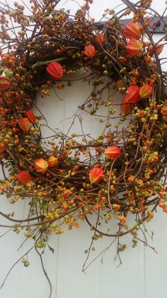 Large Bittersweet Wreath with Japanese Lanterns, Oh the memories of Fall, I miss it so.
