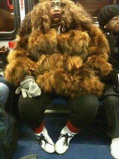 Sasquatch or Chewbacca? Fur Coat Fashion Fail ---- funny pictures hilarious jokes meme humor walmart fails