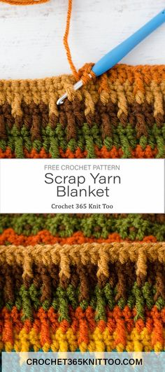 and Upward Scrap Afghan Project Perfect crochet pattern for using up yarn scraps. Free pattern by Crochet 365 Knit Too.Perfect crochet pattern for using up yarn scraps. Free pattern by Crochet 365 Knit Too. Scrap Yarn Crochet, Knit Or Crochet, Crochet Crafts, Easy Crochet, Crochet Hooks, Crochet Geek, Crotchet, Crochet Afghans, Crochet Potholders