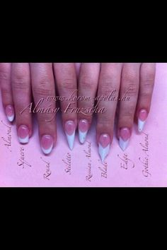 This is a good visual for nail shapes. Since my fingers are short and chunky, square and round don't always look best.