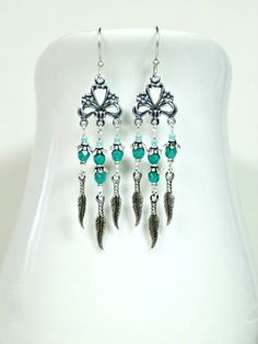 Persian Turquoise and Silver Feather Tribal  Boho by Beadwork4Sale