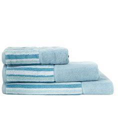 Jeff Banks Home Designer blue striped border towel- at Debenhams.com