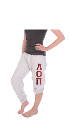 Alpha Omicron Pi Sweatpants as shown boyfriend style. Oversized unisex fit. #aopi #alphaomicronpi