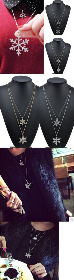 Christmas Gift Ideas: Women Vintage Crystal Rhinestone Snowflake Pendant Chain Necklace Christmas Gift -> BUY IT NOW ONLY: $1.59 on eBay!