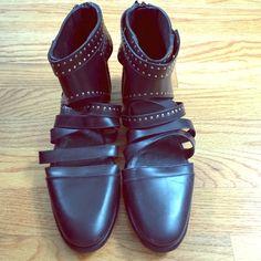Balenciaga gladiator shoes BALENCIAGA! Black leather gladiator shoes with gold studs. Great condition, barely worn. Balenciaga Shoes