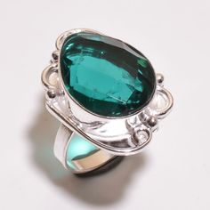 Lovely Faceted Apatite .925 Silver Handmade Ring Size 7.50 Jewelry JB364 #Handmade