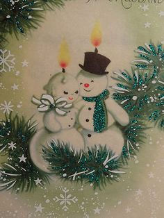 50s Rust Craft Glittered Mr Mrs Snowman Candles Vintage Christmas Card 629 | eBay