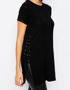Black tee-shirt with side lace-up details