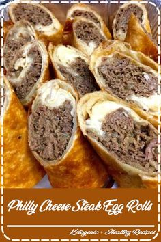 Philly Cheese Steak Egg Rolls These Philly Cheese Steak Egg Rolls are filled . - 'recipes to try - Egg Rolls Egg Roll Recipes, Beef Recipes, Cooking Recipes, Recipies, Pureed Recipes, Chicken Recipes, Recipes Using Egg Roll Wrappers, Recipes For Lunch, Thin Steak Recipes