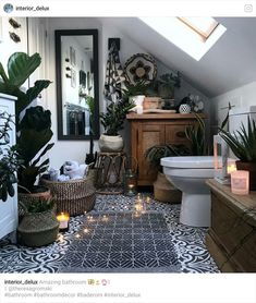Summer Vibes 5 Tips to Create a Tropical Bathroom is part of Bathroom interior design - 5 Tips to Create a Tropical Bathroom Are you wondering how can you give this tropical vibe to your space Here are some ideas, be inspired! Modern Interior Design, Luxury Interior, Interior Design Living Room, Interior Ideas, Bohemian Interior, Interior Designing, Bohemian Decor, Boho Bathroom, Bathroom Interior