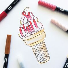 A little ice cream doodle - perfect for summer! Using Dual Brush Pens from Tombow!