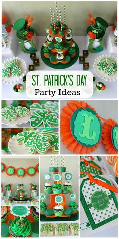 Awesome ideas at this St. Patrick's Day party! Beautiful dessert table treats. See more party ideas at CatchMyParty.com.
