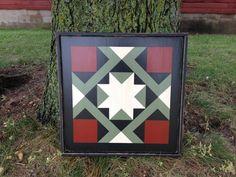 PriMiTiVe Hand-Painted Barn Quilt, Small Frame x - Magic Carpet Pattern (Dark Sage Version) Barn Quilt Designs, Barn Quilt Patterns, Quilting Designs, Block Patterns, Pattern Ideas, Free Pattern, Quilting Frames, Hand Quilting, Diy Quilting