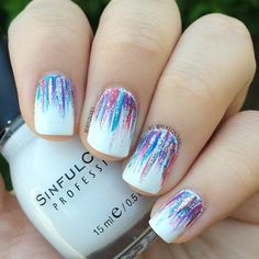 Rainbow Waterfall Ombre Nails