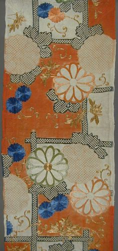 Silk Kosode Fragment with Chrysanthemums against a Bamboo Fence.  Japan, first half of 18th c.